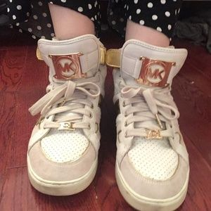 Michael Kors Gold and Ivory High Top Sneakers Sz10